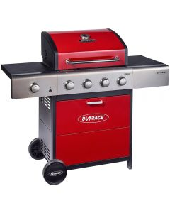 Outback Meteor hooded 4 burner gas barbecue finished in stunning red