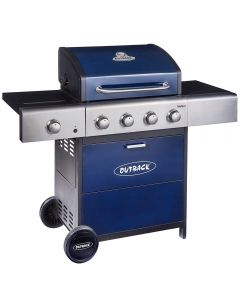Outback Meteor 4 burner hooded gas BBQ in blue