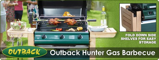 Outback Hunter with folding shelves for easy storage